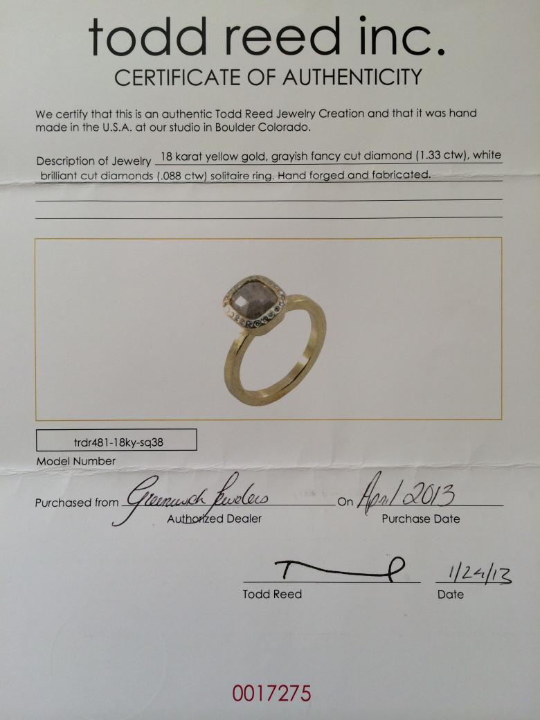 Todd Reed Solitaire Engagement Ring Perfect Condition 33 Discount Obo