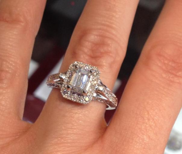 Vintage Inspired 1 04 carat Emerald Cut Engagement Ring   I Do Now I     Vintage Inspired 1 04 carat Emerald Cut Engagement Ring   I Do Now I Don t