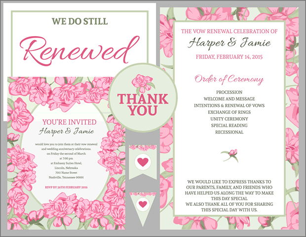 Pink Rose With Green Accents Vow Renewal Invitation Your Ebook