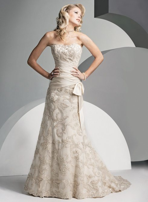 One-piece, strapless wedding dress