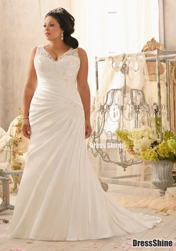 Second wedding dress for plus size bride for Wedding dresses for plus size mature brides