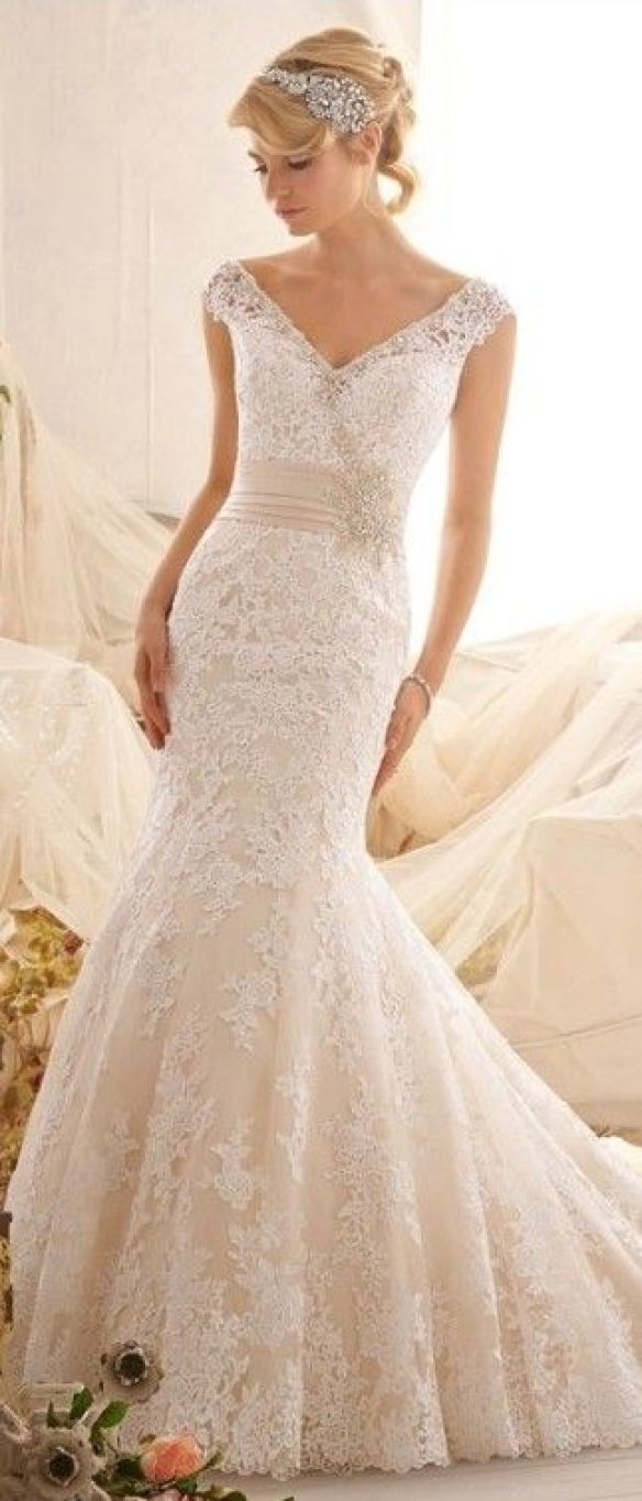 Ivory colored wedding dress for older second time bride for Bridal dresses for second weddings