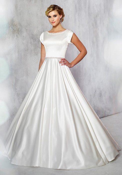 12 modest wedding dresses for the over 40 bride for Mon cheri wedding dress prices