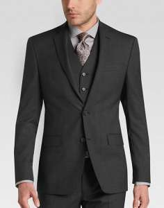 DKNY Charcoal Tic Extreme Slim Fit Vested Suit