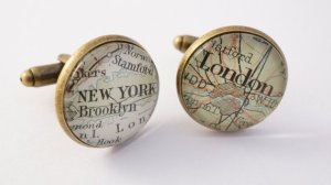 vintage custom map cufflinks