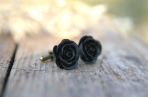 black flower cufflinks