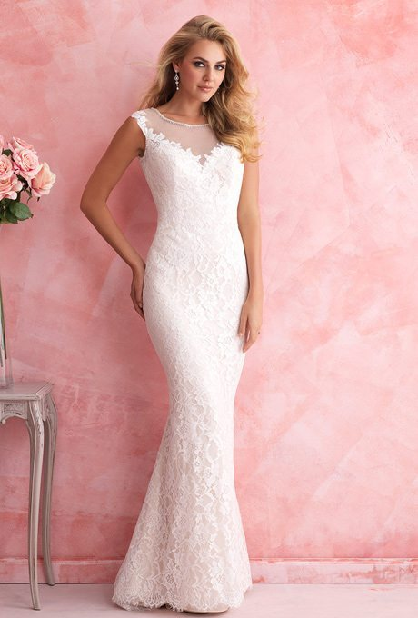 Sleek, Sheath Wedding Gowns For Older Brides