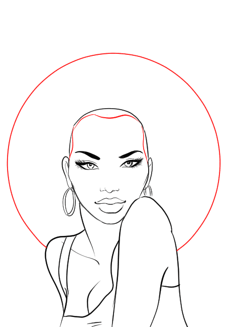How-to-draw-afro-hair-in-fashion-design-sketches-step-2