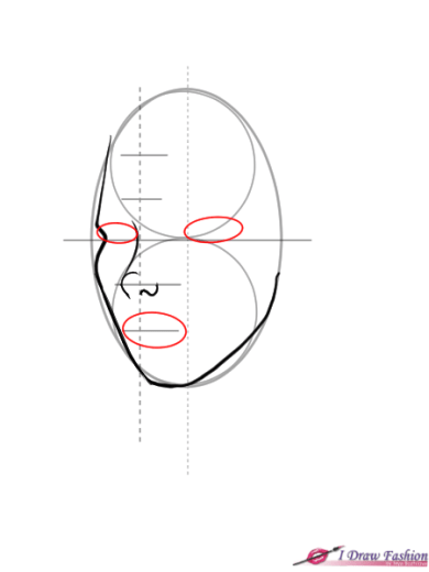 How to draw 3-4 view face in fashion design sketches step 5