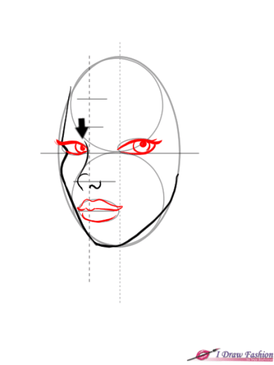 How to draw 3-4 view face in fashion design sketches step 6