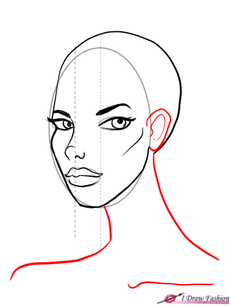 draw 3/4 face step by step - draw the year and the neck