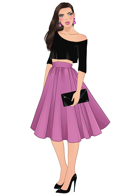 flared skirt drawing for fashion designers