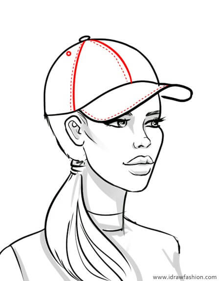 draw a baseball cap panels and top stitches