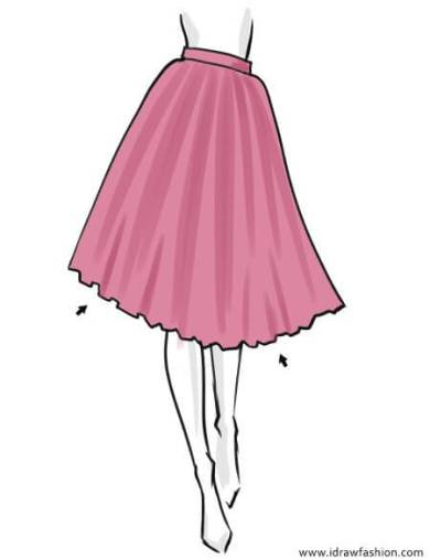 How to draw a tutu skirt in fashion sketches step by step 5