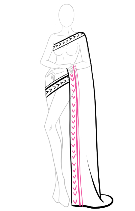How to draw a saree 4