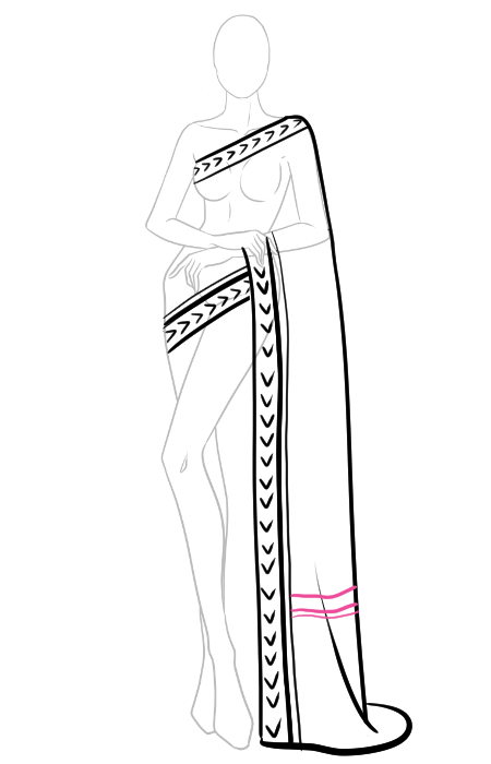 How to draw a saree 5