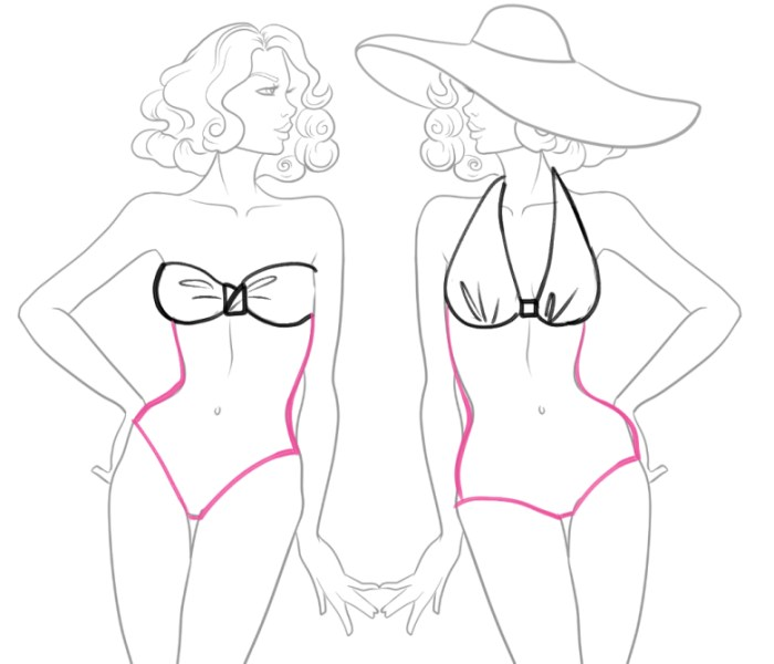 how to draw one piece swimsuit in fashion deisgn sketches