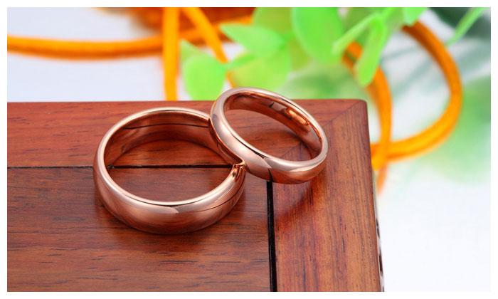 Rose Gold Plated Tungsten Wedding Bands Set Domed Rose
