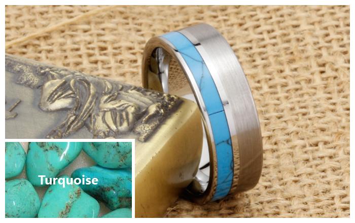 Turquoise Inlaid Tungsten Wedding Band Unique Tungsten
