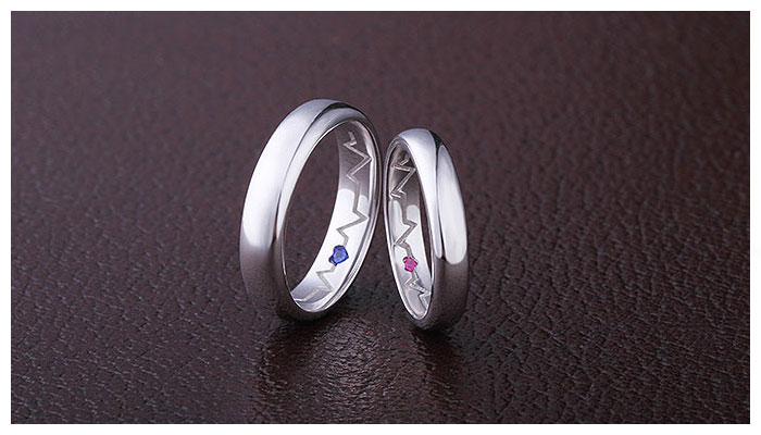Inside Heartbeat Engraved Promise Rings For Couples