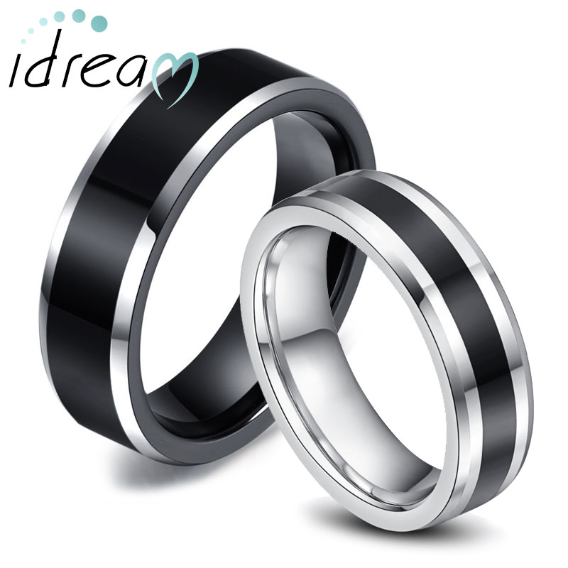 two tone tungsten wedding bands set for women men white black beveled