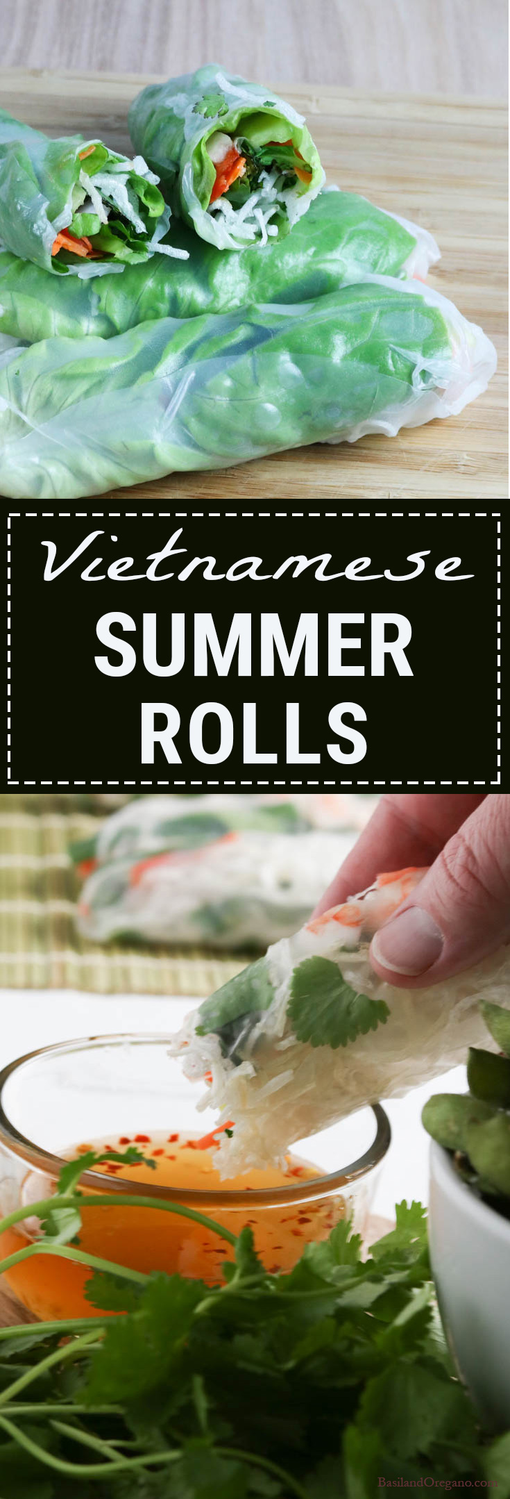 So what is a summer roll, really? Picture this: Same wrapper as a spring roll, but not deep fried in oil, go ahead and stuff it with fresh ingredients such as matchstick veggies, bean threads, poached shrimp (if you want), chilies and fragrant herbs. You can add other ingredients too, whatever your little heart desires. Summer rolls rock!