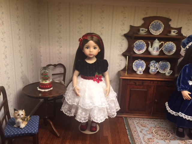 Eileens doll Sophie in velvet and lace dress