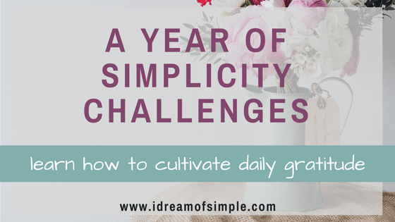 Start your own daily gratitude practice with this free download. This is part of my year of simplicity challenges. #gratitude #selfcare