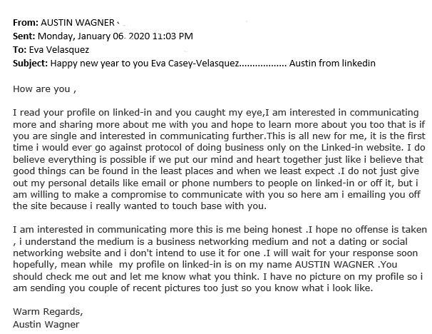 Capture-3 LinkedIn Romance Scam Comes for Identity Theft Resource Center CEO
