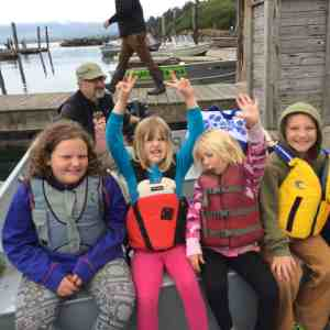 Crabbing in Manzanita, OR (my two girls on the left, niece and nephew on the right)
