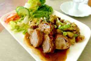 Peanut Butter Chicken with a Honey Soy Sauce - picture of chicken on plate