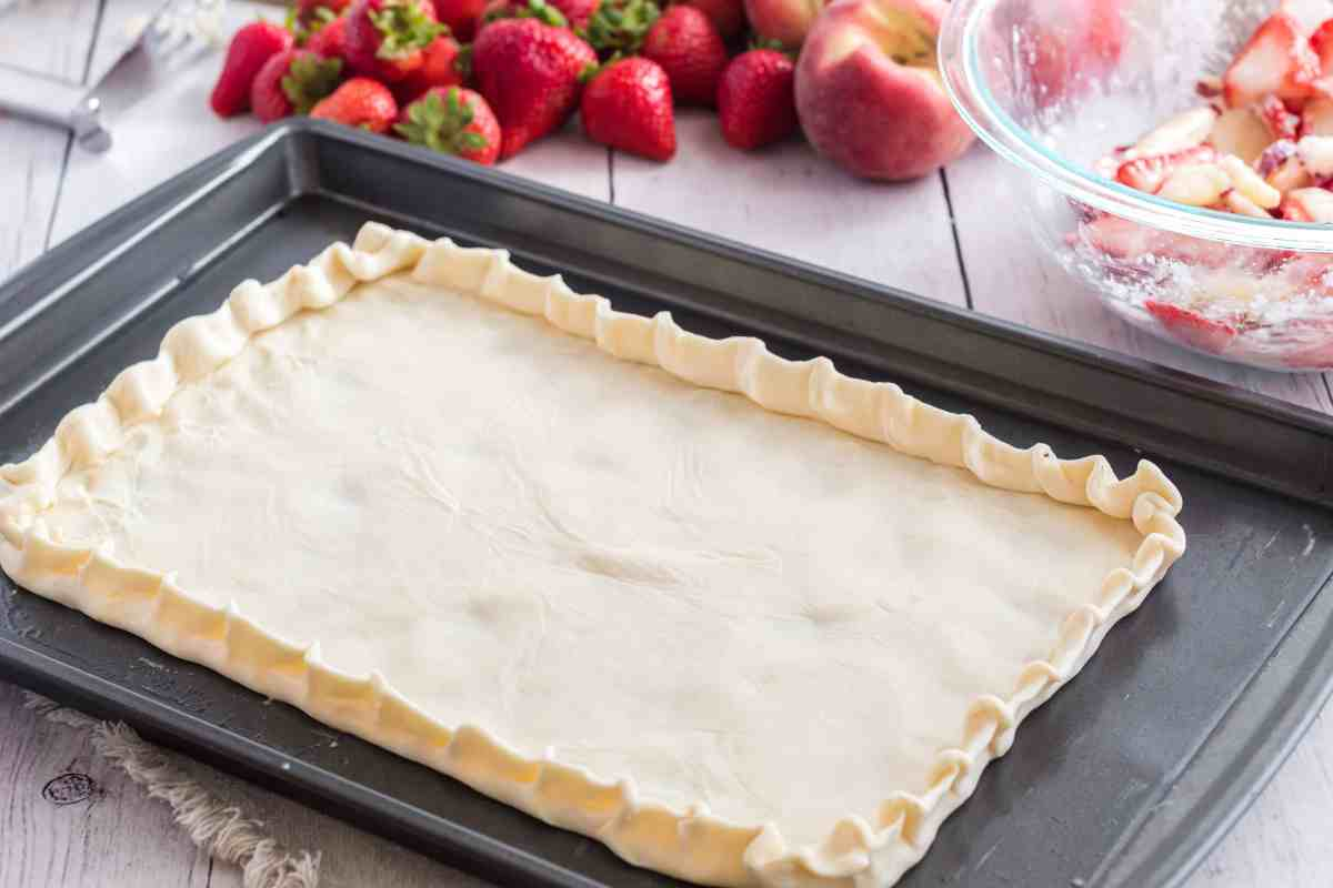 The pastry crust for The best white peach strawberry bars
