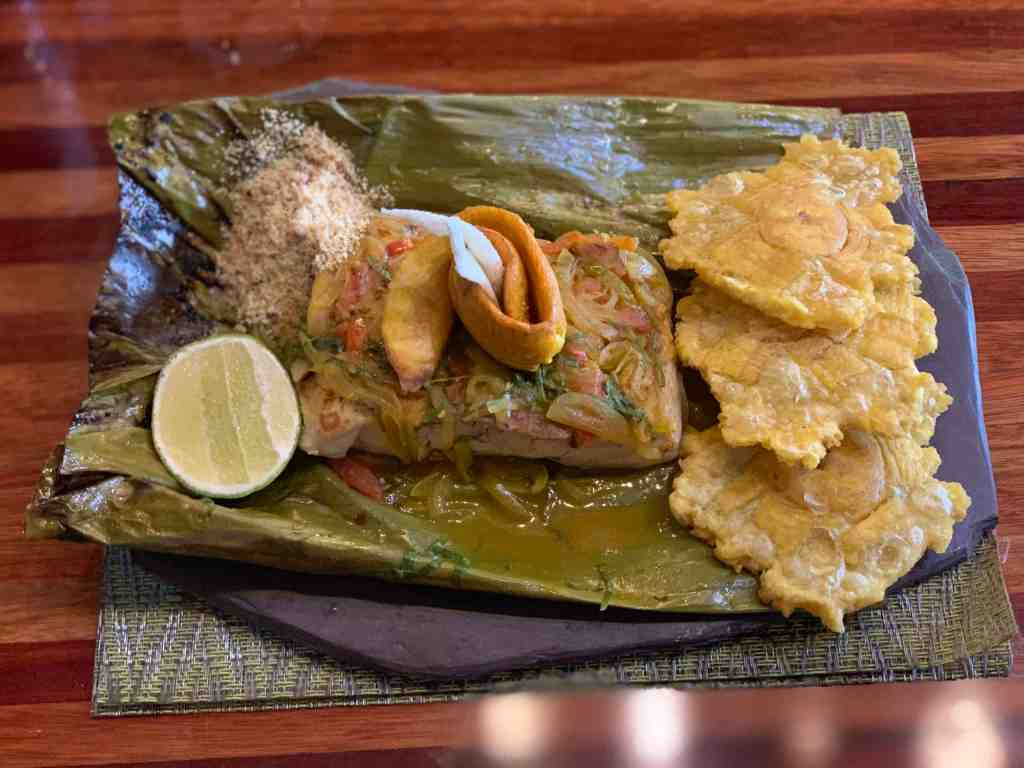 Eating plantains and pirarucu fish in the Amazon