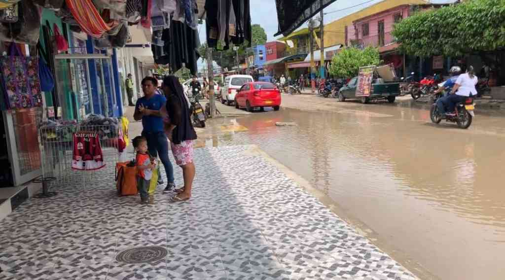 Flooded street in Leticia, Amazonas, Colombia