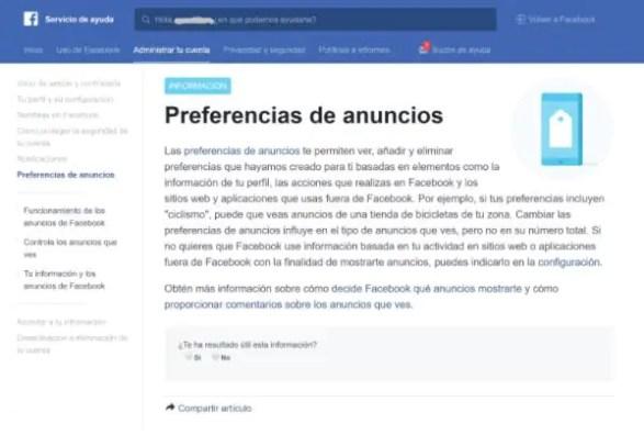 Preferencias Facebook Ads