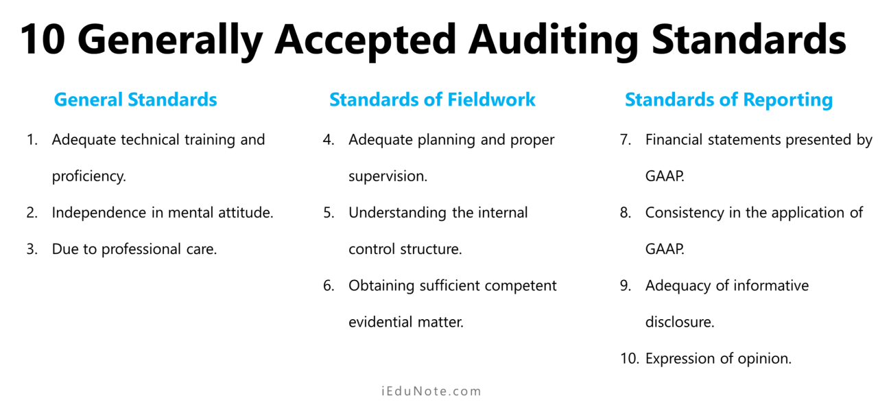 10 Generally Accepted Auditing Standards