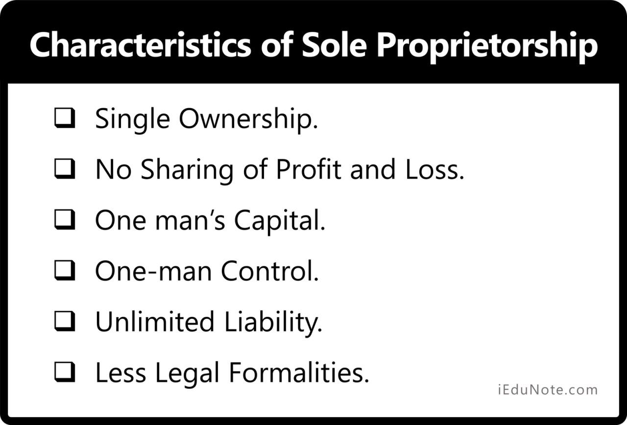 Characteristics of Sole Proprietorship - How Sole Proprietorship Looks Like!