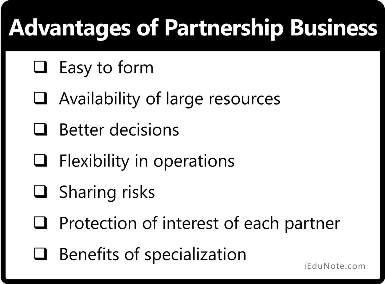 Advantages of Partnership Form of Business Organization