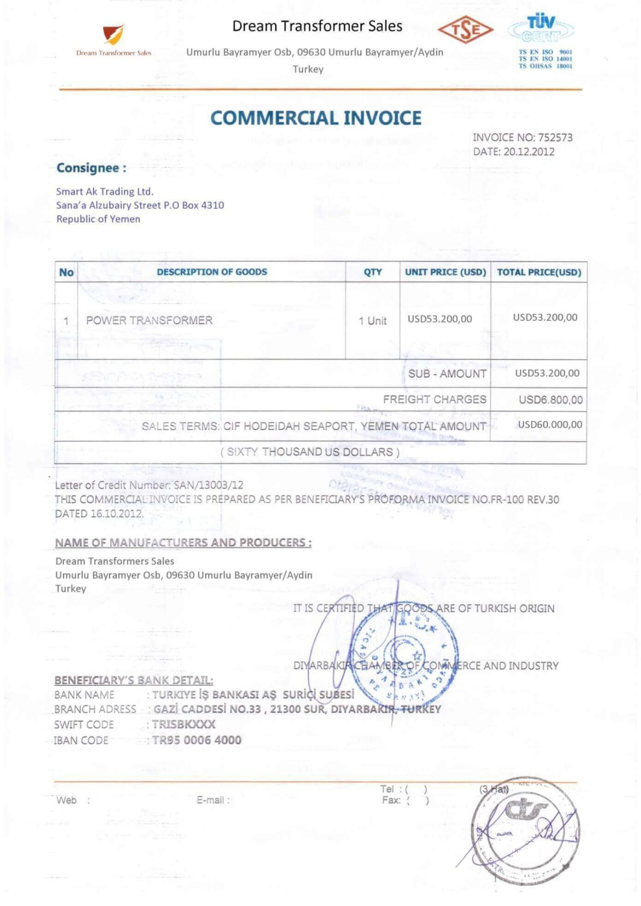 legalized invoice front example format template