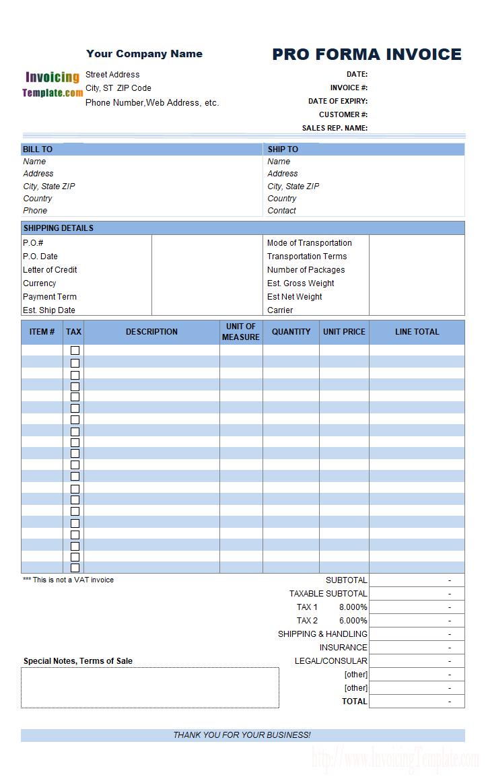 proforma invoice example format template