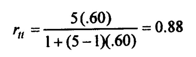 Spearman-Brown prophecy formula 4