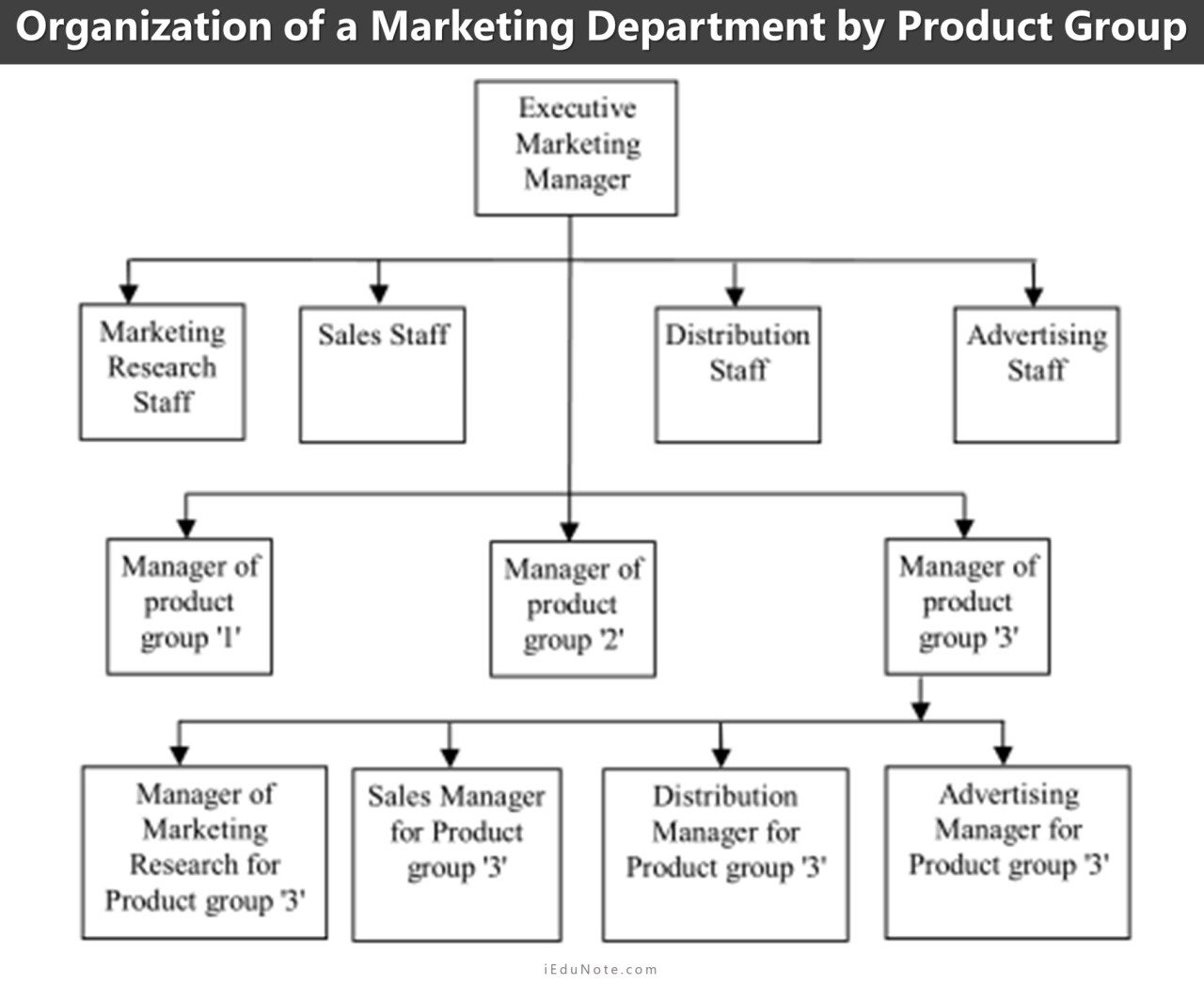 organization of marketing department by product group