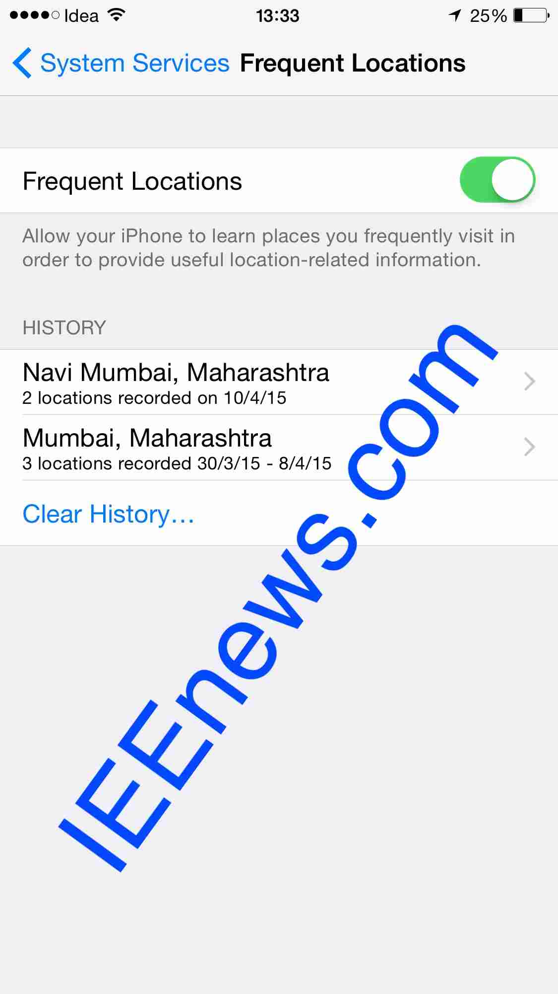 Click On > Delete History To Delete All The Saved Visited Locations On Your  Ios Device