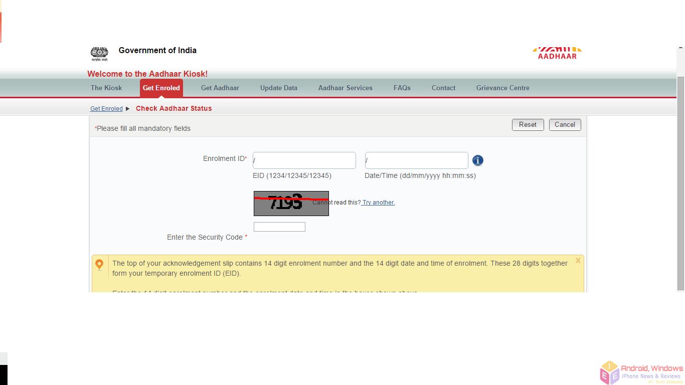 Aadhaar card status enquiry online dating