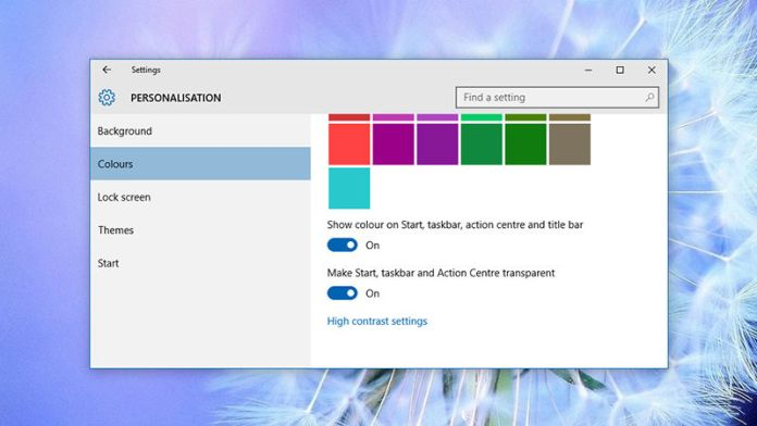 Windows 10 settings to customize your system, Adjust the transparency of windows 10 taskbar