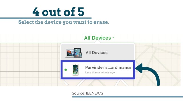 Select the device: How to Bypass iPhone 4 passcode Using iCloud