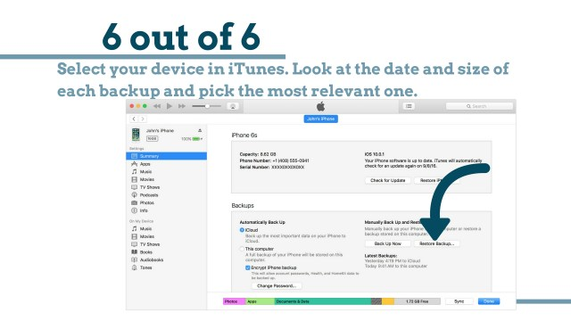 Select iTunes backup.: How to Bypass iPhone 4 passcode Using iCloud