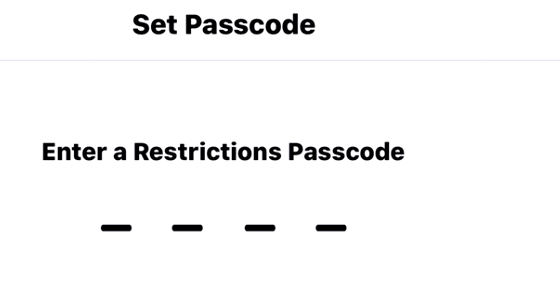Setup a Passcode for Restrictions Settings: How to block websites in Safari web browser on iPhone 7, 7 Plus, iPhone 6s Plus, iPhone 6 Plus, iPhone 5s, iPhone SE and iPad