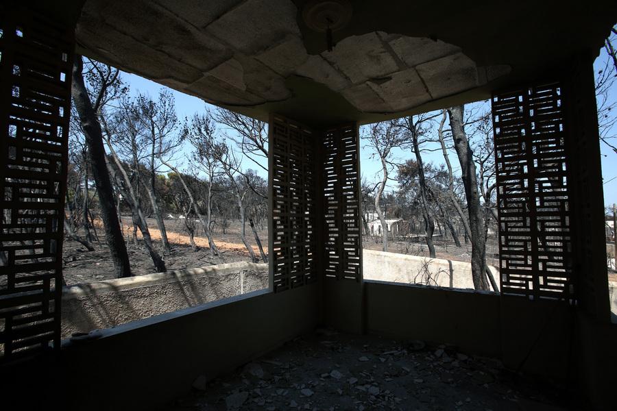 Καμένοι κορμοί δέντρων σε κτήμα με καμένο σπίτι στο Μάτι -Φωτογραφίες: ΑΠΕ-ΜΠΕ/ΣΥΜΕΛΑ ΠΑΝΤΖΑΡΤΖΗ