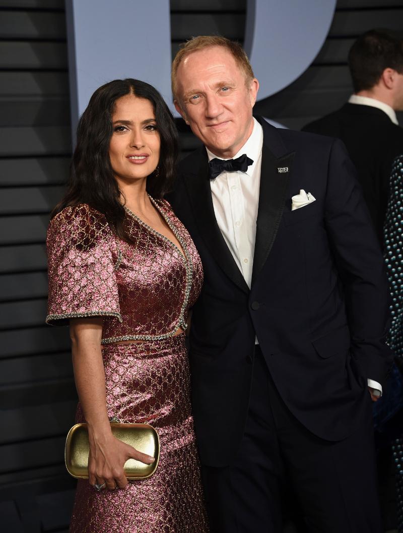 Ο Φρανσουά Ανρί Πινό και η σύζυγός του, ηθοποιός Σάλμα Χάγιεκ.